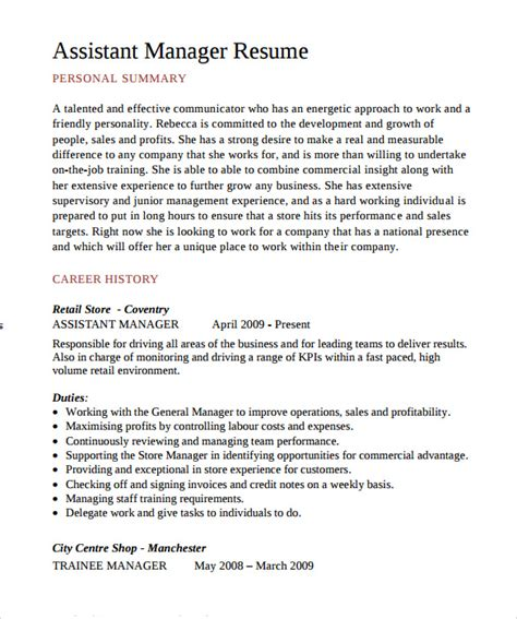 Assistant Business Manager Sle Resume by Assistant Manager Resume 9 Documents In Pdf Sle Templates