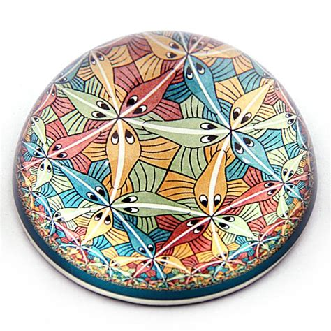 Fish Tessellation Circle Limit III Glass Paperweight by