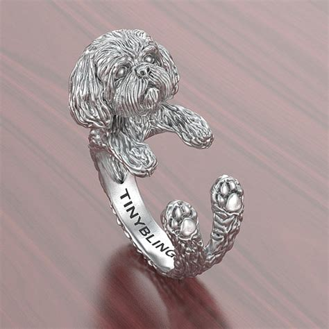 shih tzu jewelry handmade shih tzu jewelry 925 sterling silver cuddle ring
