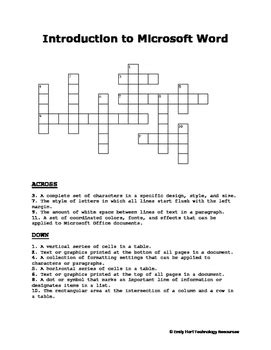 Introduction to Microsoft Word Crossword Puzzle   TpT
