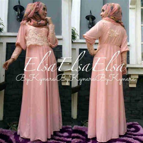Busana Muslim Gamis Elsa Pink elsa by kynara baju muslim gamis modern