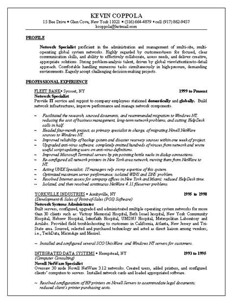resume sle one resumes career resumes new york