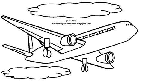 mewarnai gambar mewarnai gambar sketsa transportasi pesawat 5