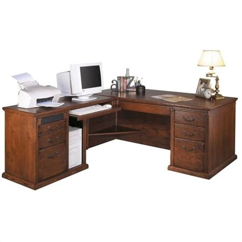 L Shape Executive Desk Kathy Ireland Home By Martin Huntington Oxford L Shape Lhf Executive Desk In Burnish Ho684l