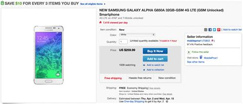 samsung galaxy alpha deals contract offers the get an unlocked samsung galaxy alpha for 259 on ebay