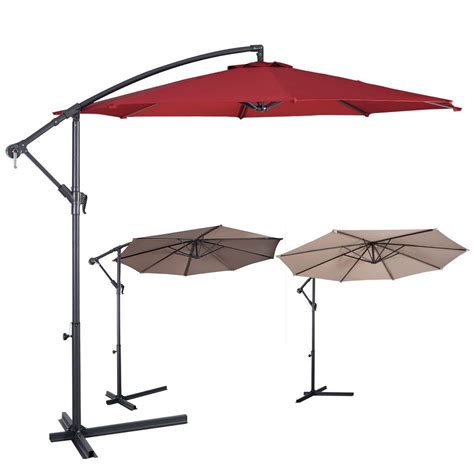 10ft Outdoor Deck Patio Umbrella Offset Tilt Cantilever Patio Umbrella Canopy