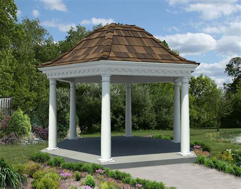 pvc gazebo vinyl roof hexagon gazebos gazebos by style