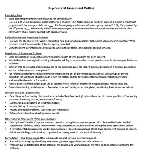 sle psychosocial assessment 8 documents in word pdf
