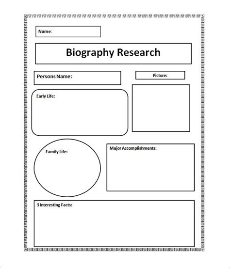 Student Biography Card Template by 7 Biography Sles Pdf Sle Templates