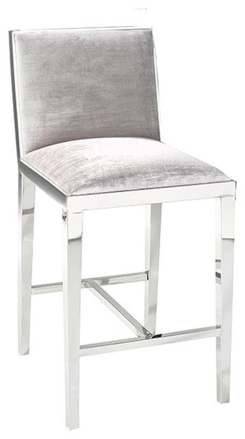 Grey Velvet Counter Stools by Uptown Club Velvet Counter Stool Gray View In