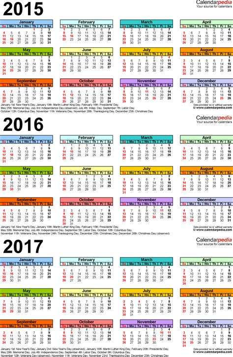 2015/2016/2017 calendar   4 three year printable PDF calendars