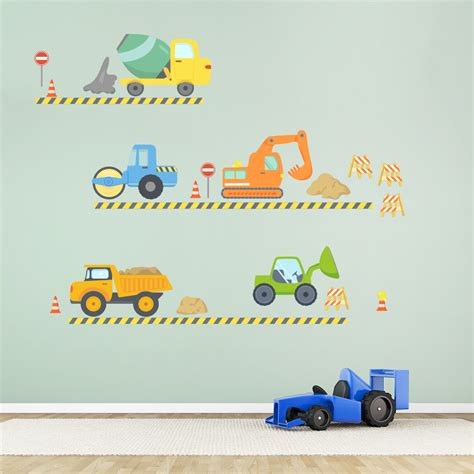 construction wall decals construction wall decals for boys room walls with construction trucks