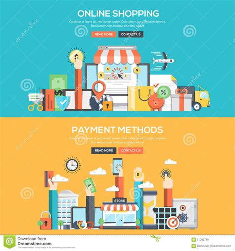 flat design concept banner online shopping and payment