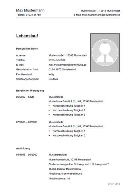 Lebenslauf Muster Aktuell by Lebenslauf Muster Vorlagen F 252 R Die Bewerbung 2018