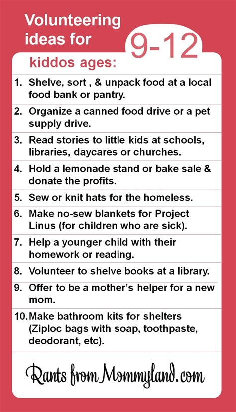 volunteer project volunteer and service ideas for kiddos ages 9 12 kids can