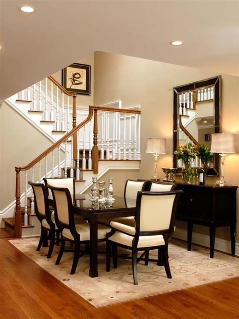 High Ceiling Dining Room Design Transitional Dining Room Decorating Ideas Dining