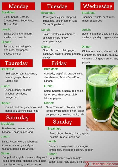 Vegetable Detox Meal Plan by 3 Week Fruit And Vegetable Diet