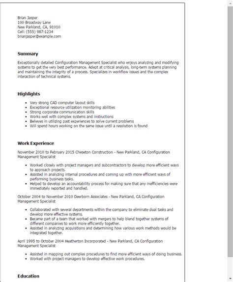 Configuration Management Specialist Resume Sle by 1 Configuration Management Specialist Resume Templates