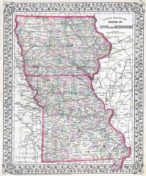detailed map of iowa large detailed administrative map of iowa and missouri