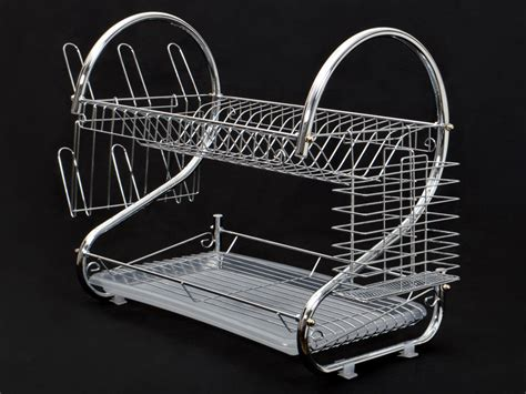Dish Rack With Drainer Tray by Chrome Kitchen Dish Cup Drying Rack Drainer Dryer Tray