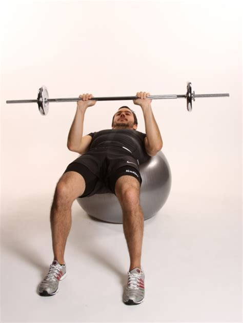 exercise ball bench press narrow bench press with barbell on fitball ibodz
