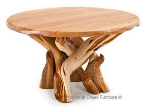 Log dining table rustic juniper round or oval solid slab