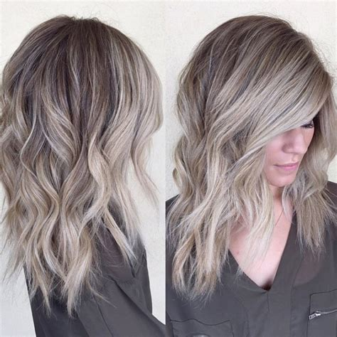 painting lowlights on gray hair pretty color cut and length beauty pinterest hair