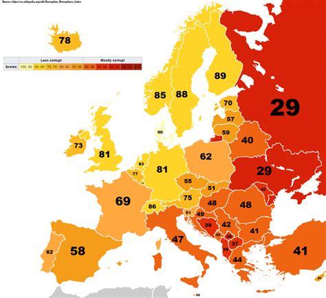 corruption  european countries  vivid maps