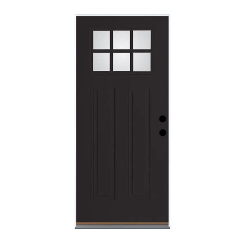 32 Inch Fiberglass Exterior Door Shop Therma Tru Benchmark Doors Craftsman 6 Lite Clear Black Prehung Inswing Fiberglass Entry