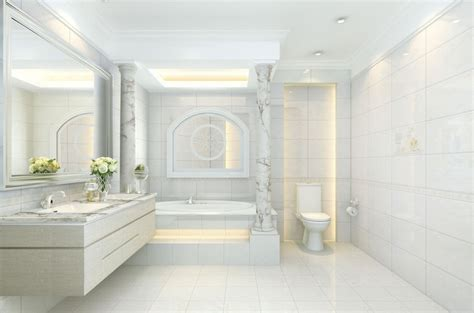 Small Bathroom Wallpaper Ideas by Neo Classical Elegant Bathroom