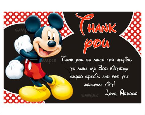 free mickey mouse thank you card template mickey mouse invitation templates 26 free psd vector