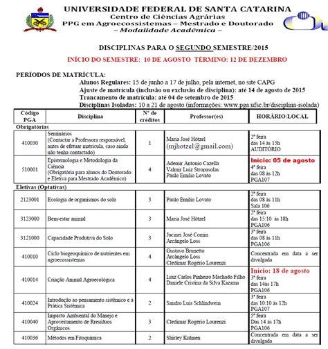 Calend Ufsc 2018 Programa De P 243 S Gradua 231 227 O Em Agroecossistemas