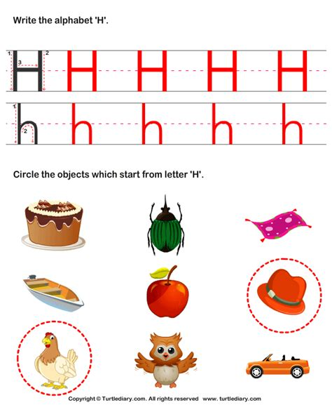 That Start With The Letter H by Identify Words That Start With H Worksheet Turtle Diary