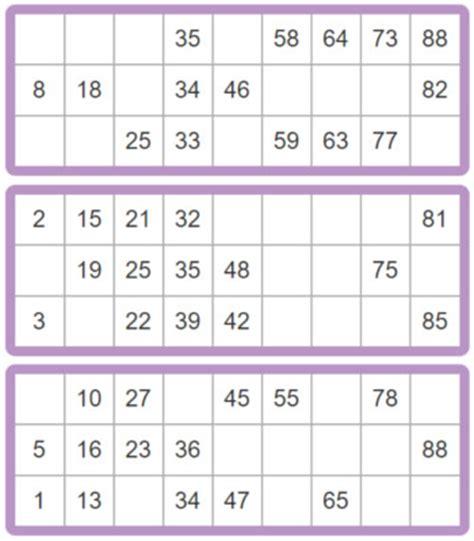 printable bingo tickets 1 90 printable bingo cards 90