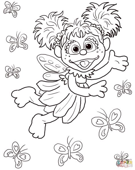 abby cadabby flying with butterflies coloring page free