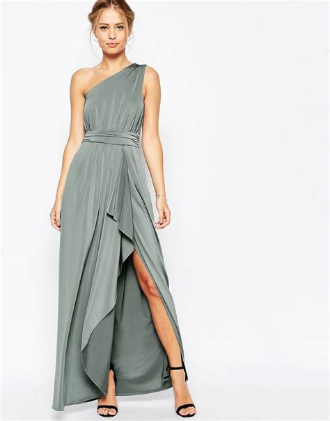One Shoulder Maxi Dress asos asos wedding one shoulder slinky maxi dress at