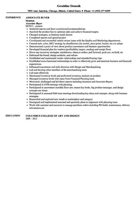 associate buyer resume sle velvet