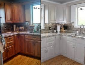 Painting Wood Kitchen Cabinets White by Painting Oak Kitchen Cabinets Before And After With White