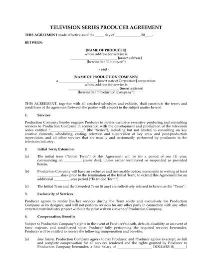 production contract template producer agreement for tv series forms and