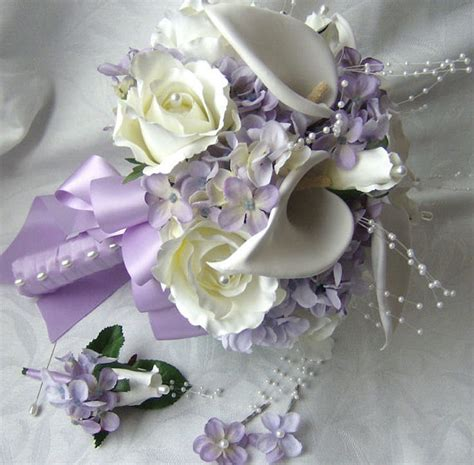 silk bridal bouquet cr 232 me white calla lilies roses lilac hydrangea wedding bouquet and