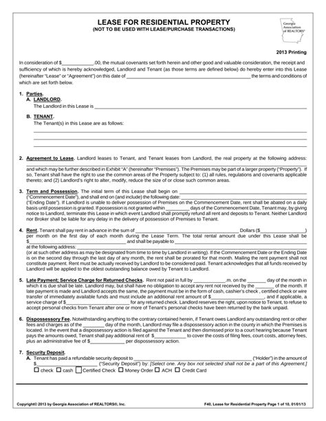 Rental Agreement Letter Ga Free Association Of Realtors Residential Lease Agreement Template Pdf Eforms Free