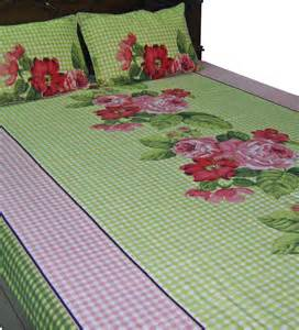 Elegant Bed Linen - looms of india flower print double bed bed sheet set by