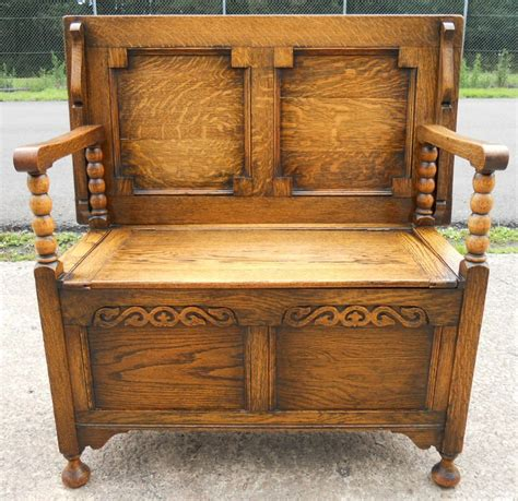 golden oak panelled monks bench 239035 sellingantiques