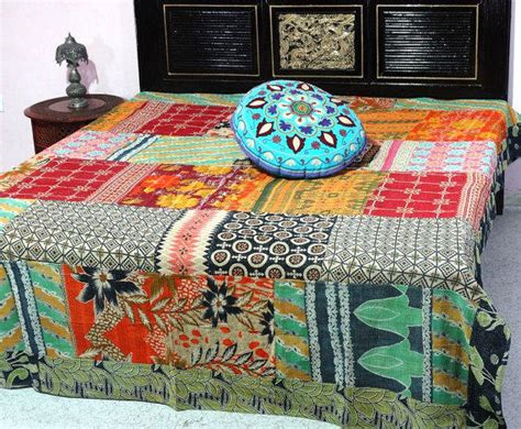 vintage kantha bed cover king size from maharajacraftbazar on