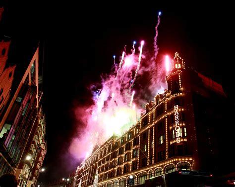 fireworks in harrods christmas lights switch on zimbio