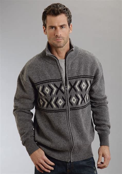 knitting pattern mens zip up cardigan stetson 174 mens grey heather aztec knit zip up cardigan