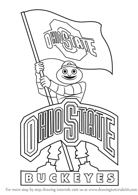 Step By Step How To Draw Ohio State Buckeyes Mascot Ohio State Buckeyes Coloring Pages