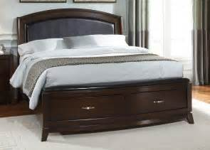 Bed Frame And Headboard Brown Pillowcase And Blanket On Brown Polished Wooden Bed Frame With Headboard And