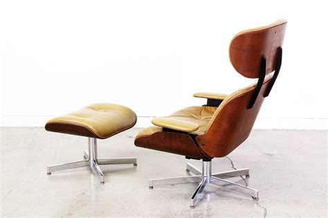 eames style leather lounge chair  ottoman vintage supply store