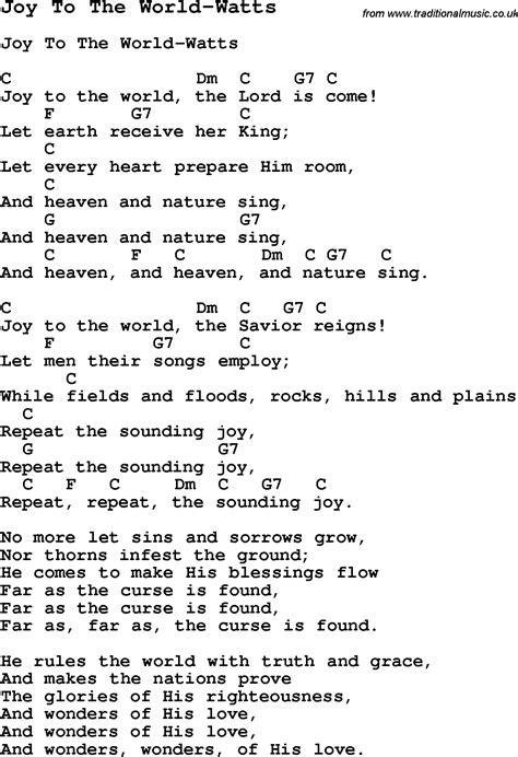 printable lyrics for joy to the world summer c song joy to the world watts with lyrics and